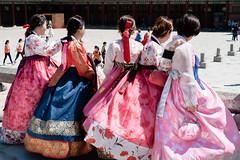 Beautiful girls in traditional korean costume hanbok (kitsunekuma) Tags: fujifilm xpro1 classic chrome hanbuk korea korean seoul temple shrine palace gyeonbokgung beautiful dress asian asia girl traditional xf35mmf2 35mm 50mm streetphotography street