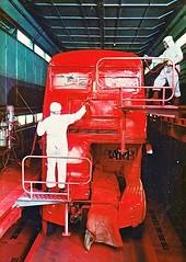London transport Routemaster being spray painted at Aldenham works. (Ledlon89) Tags: rm routemaster aec parkroyal lt lte londontransport bus buses london londonbus londonbuses vintagebuses aldenhamworks overhaul