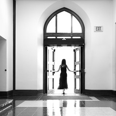 Exit (Photo Alan) Tags: exit vancouver st louise washu stlouise door wall people canon5dsr canon1635mmf28 lights blackwhite blackandwhite monochrome
