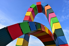 Colorful container art (Liwesta) Tags: container colours colorful bunt kunst art abstract modern sky blue lehavre france europe