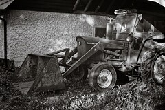 Tractor in the shade (Geir Bakken) Tags: tractor blackandwhite bw analog analogue analogphotography vintagecamera 4x5 4x5camera 4x5film film filmisnotdead filmphotography filmcamera ilovefilm norway linhofcolor computar symmetrigon fx39 fomapan