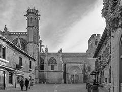 CARCASSONNE-140--OCCITANIE-la CITE-_DSC0538-2 (bercast) Tags: aude basiliquestnazaire carcassonne chateau chateaumedieval chateaumedival france occitanie placestnazaire placesaintnazaire remparts ue bc bercast lacitédecarcassonne lesruesdelacité noiretblanc