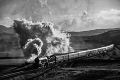 60800 Horton in ribblesdale 301201 (Nigel Valentine) Tags: lner v2 green arrow horton ribblesdale settle carlisle mono steam backlit fuji provia scanned