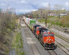 CN 120 (Michael Berry Railfan) Tags: cn3031 cn3144 crex1508 cn canadiannational ge generalelectric gevo es44ac et44ac lachine montreal montrealsub quebec train freighttrain intermodaltrain intermodal stacktrain doublestacks cofc cn120