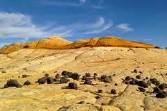 Bolder Utah, slick rock formation with lava bolders (swissuki) Tags: bolder usa ut utah mountain sky landscape largelandscape nature rocks lava slickrock