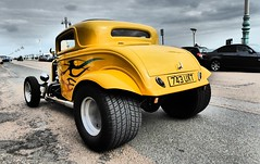 Yellow Hot Rod. (ManOfYorkshire) Tags: 743uxt brighton seaside seafront marineparade yellow hotrod modified vauxhall victor deluxe 1963 3498cc petrol engine tyres fat huge sussex england gb uk