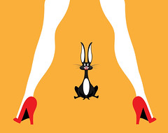 illustration of a rabbit scared by a woman (illustrationvintage) Tags: rabbit bunny scared fearful coward legs woman powerful pet animal shoes red fera cowardice sexy sensual feet afraid shock isolated female attractive scary shocked illustration funny cartoon frightened domestic terrified human amazed panic character concept emotion expression fear yellow comic comical fun sexual sex