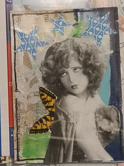 ATC with security envelope and postage stamp (the wings) (Snooky & Angie) Tags: atc artisttradingcard postagestamp butterfly wings collage paper
