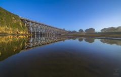 Trestle Bridge Reflections (HansenPrime) Tags: ocean pacific reflection reflections bridge wooden bridges treslte fortbragg puddingcreek landscape
