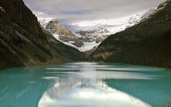 Glacial Lake (rubberducky_me) Tags: canada lake glacier blue green reflection square clouds mountains snow america northamerica lakelouise