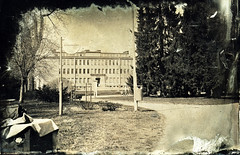 Old museum inside park (Sonofsono) Tags: oulu finland wet plate collodion fkd largeformat ambrotype black bw white glass longexposure