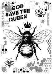 God save the Queen (id-iom) Tags: worldbeeday world bee day godsavethequeen god save queen queenbee pollinate design antonjansa honey wasp gravy hotfoil foil print art crown modern contemporary pop