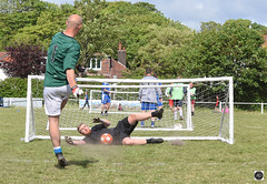 The Hero of the day (alundisleyimages@gmail.com) Tags: football 5aside charity goalie footballers goal net save people sport action pitch ground trees background dust weather kit ball game fun persuit house dive stopped win lose draw result pressure focus