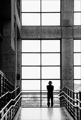 "F_MG_20571-1-BW-1-""Canon 6DII-Tamron 28-300mm-May Lee 廖藹淳 (May-margy) Tags: maymargy bw 黑白 人像 背影 逆光 剪影 梁柱 玻璃 通道 扶手 幾何構圖 點人 街拍 線條造型與光影 天馬行空鏡頭的異想世界 心象意象與影像 台灣攝影師 新北市 台灣 中華民國 fmg205711bw1 portrait viewfromback backlighting silhouette columns corridor metal hand rails windows glass cross 十字架 taiwanphotographer newtaipeicity taiwan repofchina canon6dii tamron28300mm maylee廖藹淳 humaningeometry humanelement"