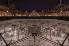 Pyramids at the Louvre. (babell4321) Tags: paris beverleybell 2019 thelouvre louvre nightphotography nightshot longexposure recent explore france city architecture