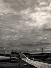 Wingshot from the Ground at Chicago International Airport. (RichTatum) Tags: flight travel airline wing monochrome blackandwhite bnw bw unitedairlines united ord chicagoohare chicago airplane wingshot planes airport iphonography iphoneography iphone blogrodent richtatum