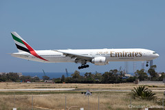 Emirates Boeing 777-31H(ER) 'A6-EGV' LMML - 17.05.2019 (Chris_Camille) Tags: canon canon5d aviation avgeek aviationgeek mla lmml airport takeoff fly sky plane aircraft airplane maltairport spotting planespotting registrations spottinglog emirates ek uae 777 boeing boeing777 boeing777heavy landing atc