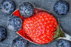 Macro Mondays - A Spoonful (of Goodies) (frankvanroon) Tags: macromondays aspoonful strawberry blueberry macro hmm mm