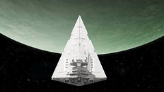 24 Imperial Star Destroyer (Kurt's MOCs) Tags: kurtsmocs kurt moc lego ldd studio povray model digital stardestroyer starwars star wars legostarwars imperial space moon planet rendering render