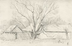 Walls, roofs and walnut tree. (Bohdan Tymo) Tags: pencil drawing spring countryside