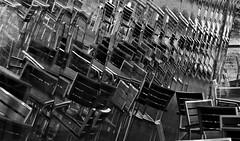 Lots of Chairs (cycle.nut66) Tags: chiars windows window reflection reflections glass aluminium wood angle monochrome grayscale blackandwhite abstract panasonic lumix lx5 leica summicron oxford services m40
