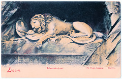 Luzern - Lion Statue (pepandtim) Tags: postcard old early nostalgia nostalgic luzern lucerne lion statue monument carte postale vege löwendenkmal rock relief bertel thorvaldsen 1820 1821 lukas ahorn swiss guards 1792 french revolution tuileries paris mark twain 1789 1791 1880 47luz32