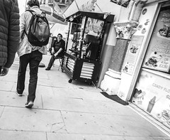 Seaside - Rainbow Slush (julieloolibelle15) Tags: hastings 2019 may seaside shootfromthehip streets streetphotography england tradition documentary beach lifestyle summer towns people monochrome blackandwhite shopkeeper promenade