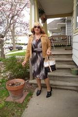 Woman On The Go (Laurette Victoria) Tags: jacket dress purse blonde sunglasses woman laurette