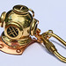 Copper and Brass Diving Helmet keychain