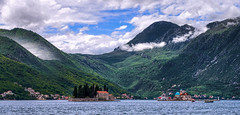 Tiny Islands: Sveti Đorđe Island and Our Lady of the Rocks (Vest der ute) Tags: g7xm2 g7xll water sea mountain sky clouds buildings trees island montenegro fav25