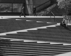 The Mark of Zorro (charhedman) Tags: downtownvancouver steps streetphotography architecturalphotography people z reflections blackandwhite monochromatic candid