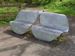 Lily-Pad Bench (Glass Horse 2017) Tags: guisborough guisboroughforestwalkway ponds benches metal fabricated seats benchmonday jamesgodbold lilypadbench lilypad frog newt shadow