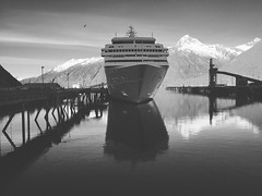 (i threw a guitar at him.) Tags: iphone mountains reflection ropes bw white black blackwhite season skagway usa entry port transportation transport travel water pier harbor dock may summer 2019 alaska ship cruise boat seven seas mariner