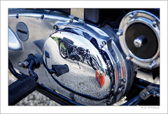 Reflecting on British bikes (G. Postlethwaite esq.) Tags: dof derbyshire heage unlimitedphotos bokeh chaincase classicbikes depthoffield engine motorbike motorcycle photoborder reflection selectivefocus windmill