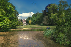 A castle, the park, some people and a pond (Fr@ηk ) Tags: limburg castle kasteel cuypers architect frnk mrtungsten62 thenetherlands artwork photo painting painterly rec0309 europ12 europe europa landscape green foliage water pond cosy swim swimming frogs ducks birds sky himmel ciel nuages canontse24mml tiltshift people man woman wife husband grass feast party sonyilcea7rm2