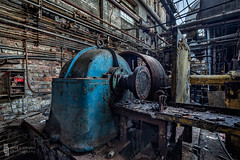 Blue in the Gloom (billmclaugh) Tags: industry paper pulp mill warehouse ohio abandoned urbanexploration urbex ue machinery rust decay shadows derelict debris canon 5dmiii tse24mmf35lii tiltshift highdynamicrange hdr adobe lightroom photoshop on1 perfecteffects