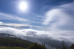 Fun Fierce Freely Flowing Fog Under a Full Moon (slworking2) Tags: palomarmountain california unitedstatesofamerica clouds fog palomar sandiego weather sky moon mountain blue
