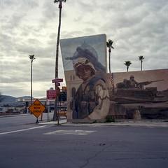 Twentynine Palms (ADMurr) Tags: california desert towns twentynine palms 29 iraq mural saddam topple overcast hasselblad 500cm zeiss 50mm distagon kodak ektar film 6x6 verbena st dba663