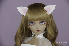 White wolf ears MSD (AnnaZu) Tags: ears wolf white pink annazu annaku vesnushkahandmade commission poymer clay sculpting magnetic doll bjd abjd balljointed fairyland minifee fairyline alicia