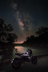 BMW R NineT Admires the Pedernales River Milky Way (toddehrlich) Tags: bmwrninet rninet makelifearide pedernales cafe racer motorrad