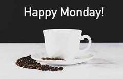 Cup of coffee with Happy Monday! text (wuestenigel) Tags: drink cup coffeecup espresso hot mug concept bean object table coffee hotdrink happy monday kaffee tasse getränk ausgedrückt breakfast frühstück caffeine koffein dawn dämmerung becher heis cappuccino tea tee dark dunkel saucer untertasse chocolate schokolade noperson keineperson perfume parfüm foam schaum milk milch kaffeetasse cream sahne2019 2020 2021 2022 2023 2024 2025 2026 2027 2028 2029 2030