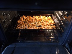 Cubed squash, onions and garlic, drizzled with olive oil and placed in a baking sheet to be roasted in an overn (Backyard Boss) Tags: butternut squash roasted pecan ravioli homemade recipe dough dish easy kitchen