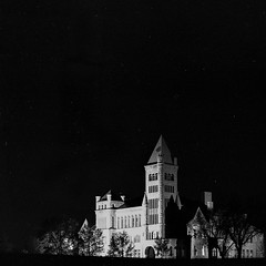 Castle and the sky (dylan67krause) Tags: expiredfilm abandoned building old sky stars 150mm architecture analogue film ilford blackandwhite bw longexposure landscape night square 6x6 6x9 100asa mediumformat mamiya