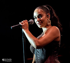 Jorja Smith @ WaMu Theater (Kirk Stauffer) Tags: kirk stauffer photographer nikon d5 adorable amazing attractive awesome beautiful beauty charming cute darling fabulous feminine glamour glamorous goddess gorgeous lovable lovely perfect petite precious pretty siren stunning sweet wonderful young female girl lady woman women live music concert show gig tour lights lighting singer vocals performer musician band group indie long brown hair brunette ponytail white teeth red lips blue eyes model tall short fashion style corset bustier portrait photo smile smiling english england