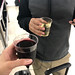 Pre-gaming for Norwegian Air with wine in plastic cups