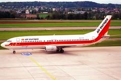 Air Europa Boeing 737-400; EC-FZZ@ZRH;11.10.1997 (Aero Icarus) Tags: zrh zürichkloten lszh zurichairport zürichflughafen negativescan avion aircraft flugzeug plane