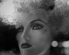 dreaming of electric sheep (gro57074@bigpond.net.au) Tags: bw mannequin monochrome face mono blackwhite sydney may monotone monochromatic wig darlinghurst 2019 pbwa guyclift nikon tamron 2470mmf28 d850 f28 70mm dreamingofelectricsheet