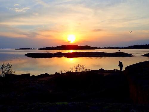 Fisherman in the sunset. Hvaler, Norway