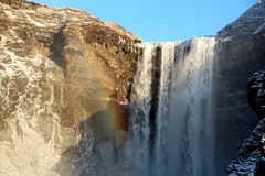 Skogafoss Winter (Jane Inman Stormer) Tags: waterfall iceland skogafoss winter ice rock sky shadow bright january 2019 cold