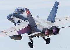 Los F-18 del Ala 15 parten hacia el Tiger Meet (Ejército del Aire Ministerio de Defensa España) Tags: despegue takeoff vuelo flight tigre f18 mcdonnelldouglasf18hornet hornet ala15 ntm ntm19 ntm2019 nato tiger meet baseaérea zaragoza airbase cielo sky azul blue ejércitodelaire fuerzaaérea españa avión plane caza fighter airforce pilot toberas jet